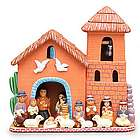 Birth in the Bell Tower Clay Nativity Scene