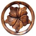 Balinese Hibiscus Flower Wood Relief Panel