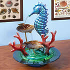 Glass and Metal Seahorse Indoor Water Fountain