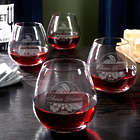 4 Personalized Rhone Valley Stemless Wine Glasses