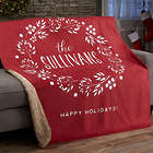 Christmas Wreath Personalized 50x60 Sherpa Blanket