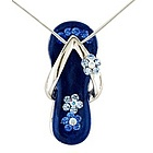 Royal Blue Flower Strap Flip Flop Necklace in Silver