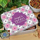 Personalized Dog Paw Argyle Treat Tin