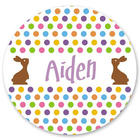 Brown Easter Bunny Personalized Stickers