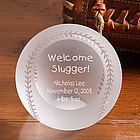 Personalized Crystal Baseball Paperweight - Welcome Slugger