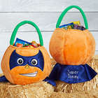 Personalized Superhero Pumpkin Plush Halloween Treat Bag