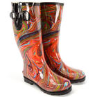 Marbled Rubber Rain Boots With Adjustable Buckles