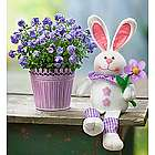 Purple Plant with Plush Easter Bunny