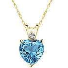 Heart Blue Topaz and Diamond Stud Pendant in 14K Yellow Gold