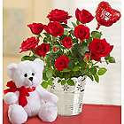 Love You Teddy Bear and Red Roses Gift Set