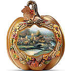 Thomas Kinkade Give Thanks Illuminated Pumpkin Table Centerpiece
