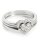 .20 Ct Diamond 3 Piece Heart Ring Set