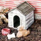 Mini Dog House and Dog Garden Figurines