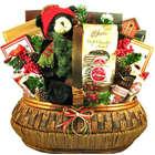 Cozy Bear Lodge Stuffed Animal and Sweets Christmas Gift Basket