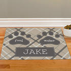 Personalized Plaid Pet Food Mat