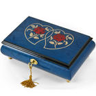 Red Roses on Dark Blue Double Heart on 18 Note Music Box