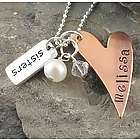 Copper Heart Sister Personalized Hand Stamped Necklace