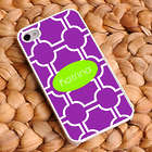 Personalized Purple Lattice iPhone Case with White Trim