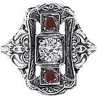 1800s Style White Topaz and Garnet Sterling Silver Ring