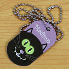 Personalized Halloween Black Cat Dog Tag