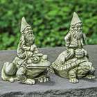 Cast Stone Riding Gnome Garden Statue
