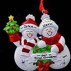 Snowman Couple Personalized Ornament