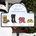 Garden Stake with Personalized Winter Boots Magnet