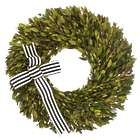 "16"" Green Myrtle Wreath with Black and White Ribbon"
