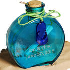 Mini Scroll in a Flask Bottle with Beach Flip Flop