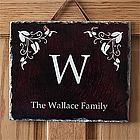 Elegant Monogram Personalized Slate Plaque