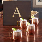 Engraved Copper Moscow Mule Mugs in Wooden Gift Box