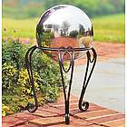 "10"" Stainless Steel Garden Gazing Ball with Iron Scroll Stand"