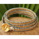 Thai Gold Plated Leather Wrap Bracelet