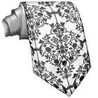 Black and White Ornamental Floral Pattern Tie