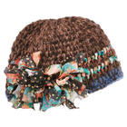 Clara Flouncy Knit Hat in Marled Wool with Bows