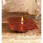 Red Enamel Leaf Oil Candle