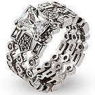 Three Band Emerald Cut Engagement Ring Set