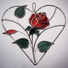 Stained Glass Rose on a Heart Ring