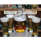 Personalized Glass Beer Growler with Twist Cap & Pilsner Glasses