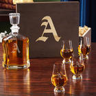 Engraved Argos Decanter and Crystal Glencairn Whiskey Glasses