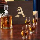 Engraved Argos Decanter and Crystal Glencairn Whiskey Glasses
