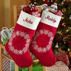 Personalized Snowflake Wreath Quilted Christmas Stocking