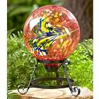 """Colorful 10"""" Orange Glass Ball on Stand"""