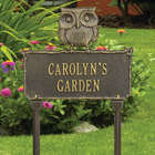 Perched Owl Personalized Lawn Sign