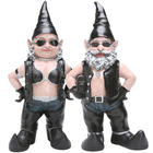 Biker Babe and Biker Dude Gnome Garden Sculptures
