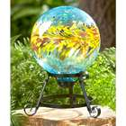 Colorful Turquoise Glass Gazing Ball on Stand