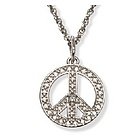 Tiny 14k White Gold Diamond Peace Sign Pendant