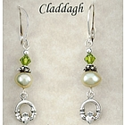 Claddagh Earrings with Pearls and Swarovski Crystals
