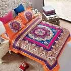 3-Piece Orange Bohemian Mandala Queen Comforter Set