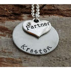 Partner Heart Personalized Hand-Stamped Necklace